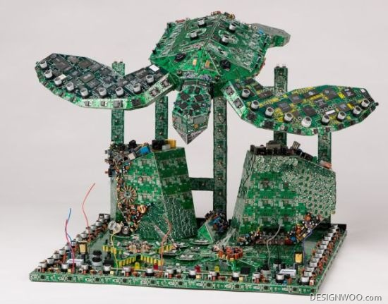 Eco-Conscious Artist Transforms Trashed PCBs Into Stunning Sculptures