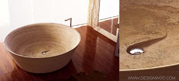 Natural Travertine Stone Bath Fixtures Design by Vaselli